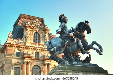Paris , France : june  20 ,2017 : The Sculpture at Louvre museum that  is the world's largest museum and a historic monument located on the center  of city