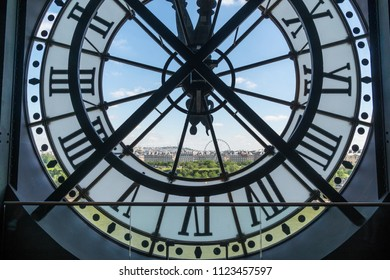 PARIS, FRANCE - June 20, 2018: Paris cityscape, skyline view through the clock face at the Musée d'Orsay.