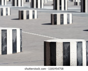 Paris, France - June, 2018: Les Deux Plateaux or Colonnes de Buren, is a art installation created by French artist Daniel Buren in 1985–1986. It is located in the inner courtyard of the Palais Royal