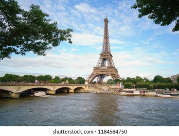 PARIS, FRANCE - JUNE 2018: View on Eiffel Tower, top tourist attraction of Paris and best destination of Europe, France.