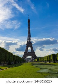 Paris, France, June 2019: Eiffel Tower, a wrought-iron lattice tower located on the Champ de Mars. The construction was named after its creator, the engineer Gustave Eiffel.