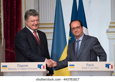 Paris, FRANCE - JUNE 22, 2016 : French President Francois Hollande shaking hands to the President of Ukraine Petro Porochenko after press conference about the crisis between Russia and Ukraine.