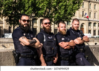 Paris, France - June 23, 2017: Armed guards of SNCF's railway police whose mission is to protect, assist and secure both passengers and staff and goods throughout the SNCF network.