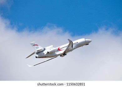 Paris, France - June 23 2017: Dassault Falcon 8x at the Paris air show in air among clouds