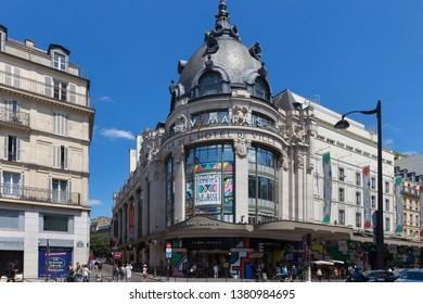 PARIS, FRANCE - JUNE 23, 2017: View of the Bazar de l'Hotel de Ville or Le BHV Marais. Is a department store on rue de Rivoli in the center of Paris. It is part of the Groupe Galeries Lafayette.