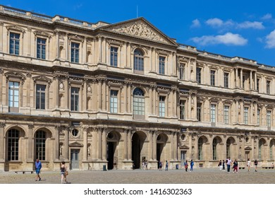 PARIS, FRANCE - JUNE 23, 2017: View of the buildings of the Louvre. Is the world's largest art museum and is housed in the historic Louvre Palace, originally built in the late 12th to 13th century.
