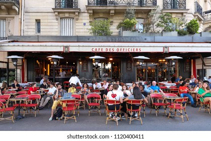 PARIS, FRANCE - June 23, 2018: Cafe des officiers is typical French cafe located near the Eiffel tower in Paris, France.