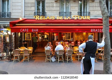PARIS, FRANCE - June 23, 2018: Cafe Relais de la Tour is typical French cafe located near the Eiffel tower in Paris, France.
