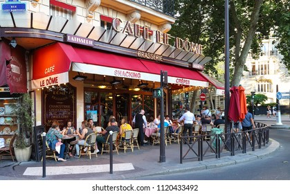 PARIS, FRANCE - June 23, 2018: Cafe Le Dome is typical French cafe located near the Eiffel tower in Paris, France.