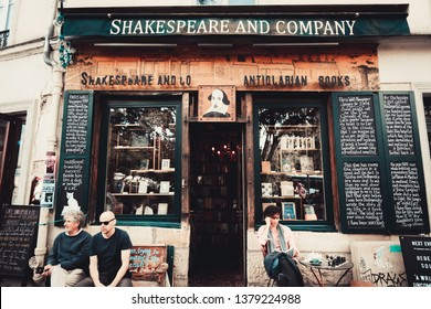 PARIS, FRANCE -June 23 2018: View of the landmark Shakespeare and Company bookstore and cafe located on the Left Bank in Paris, France,