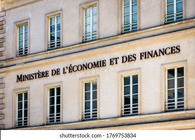 Paris, France - June 23, 2020: Close-up view of the facade of the reception building of the Ministry of the Economy and Finance, a former parisian customs house, located at 139 rue de Bercy.