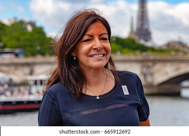 Paris, France - June 24, 2017 :  Anne Hidalgo, mayor of Paris,photgraphed during the Paris Olympic Games 2024 showcase.