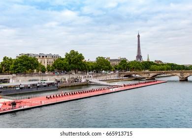Paris, France - June 24, 2017 : Musicians perform a concert during the Olympic Games Paris 2024 showcase.