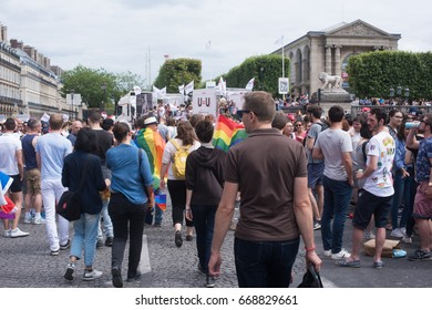 PARIS, FRANCE - JUNE 24, 2017: Crowd of people march at the Gay Pride.