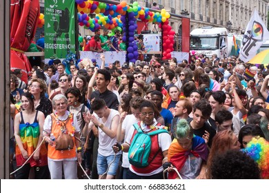 PARIS, FRANCE - JUNE 24, 2017: People dance at the Gay Pride.