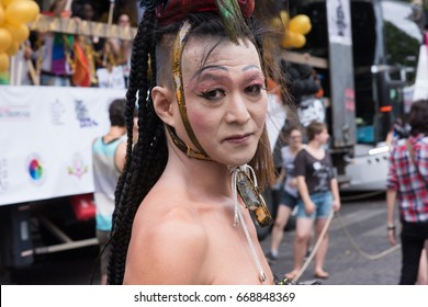 PARIS, FRANCE - JUNE 24, 2017: Asian drag queen at the Gay Pride.