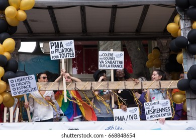 PARIS, FRANCE - JUNE 24, 2017:  Lesbians on parade float at the Gay Pride.