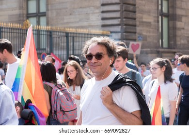 PARIS, FRANCE - JUNE 24, 2017:  Old man marches at the Gay Pride parade.