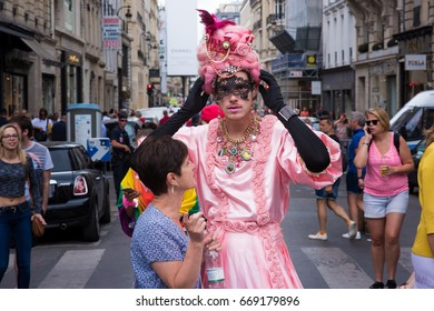 PARIS, FRANCE - JUNE 24, 2017: Medieval drag queens at the Gay Pride parade.
