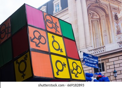 PARIS, FRANCE - JUNE 24, 2017: Gender identity and sexual orientation symbols on cube at the Gay Pride parade.