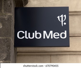 Paris, France -june 24, 2017: club med sign on a building in Paris