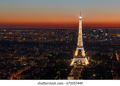PARIS, FRANCE - June 25, 2017: view on Eiffel tower at night