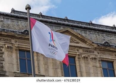 PARIS, FRANCE - June 25, 2017: Paris is city candidate for Olympic Games 2024 flag