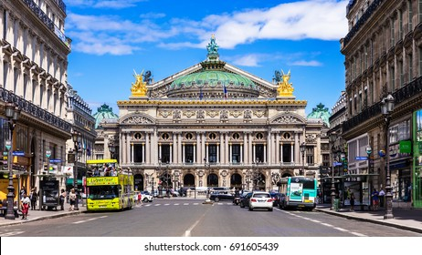 Paris, France - June 25, 2017: Front view of the Opera National de Paris. Grand Opera (Opera Garnier) is famous neo-baroque building in Paris. Designed by Charles Garnier in 1875.