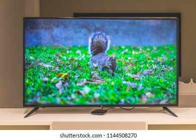 Paris, France - June 25, 2018: Xiaomi Mi TV 4S 50 inch on a Xiaomi Smart TV store