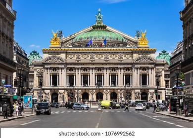 Paris, France - June 26, 2017: Front view of the Opera National de Paris. Grand Opera (Opera Garnier) is famous neo-baroque building in Paris. Designed by Charles Garnier in 1875.