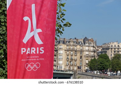 PARIS, FRANCE - June 26, 2017: Paris is city candidate for Olympic Games 2024 banner