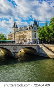 PARIS, FRANCE - JUNE 26, 2017: Embankment of the river Seine and Quai du Marche Neuf on Cite Island in Paris.
