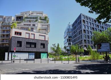 Paris, France - June 28, 2015: Eco-Quartier Clichy-Batignolles. New Modern Architecture. Blue sky. Summer sunny day
