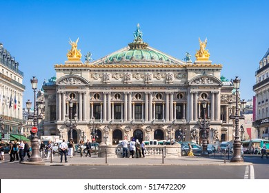 Paris, France - June 29, 2006: Front view of the Opera National de Paris. Grand Opera (Opera Garnier) is famous neo-baroque building in Paris. Designed by Charles Garnier in 1875.