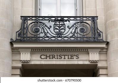 Paris, France -june 29, 2017: christie s letters on a wall in Paris