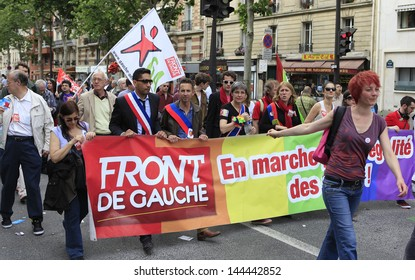 PARIS, FRANCE - JUNE 29 : Protesters marching for gay rights at The Gay Pride parade 2013 in Paris, France, June 29, 2013