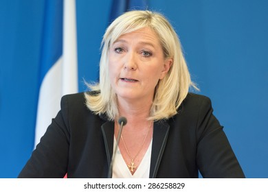 PARIS, FRANCE - JUNE 3, 2015 : Marine le Pen in press conference at the headquarter of Front national, the political party she leads.