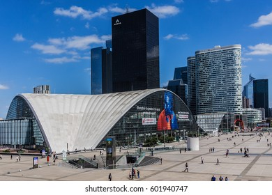 PARIS, FRANCE - JUNE 3, 2015: Skyscrapers in business district of Defense to the west of Paris. Defense is biggest business district in France and most of large companies have offices here.
