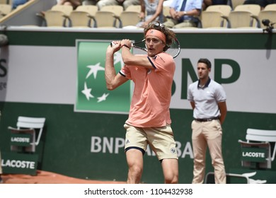 PARIS, FRANCE - JUNE 3: Alexander Zverev (AUT) competes in round 3 at the The French Open on June 3, 2018 in Paris, France.