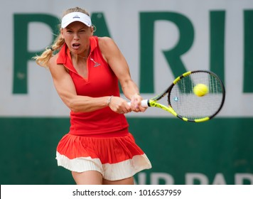 PARIS, FRANCE - JUNE 3 : Caroline Wozniacki at the 2017 Roland Garros Grand Slam tennis tournament