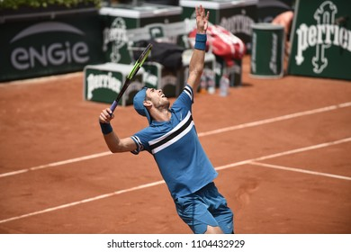 PARIS, FRANCE - JUNE 3: Karen Khachanov (RUS) competes in round 3 at the The French Open on June 3, 2018 in Paris, France.