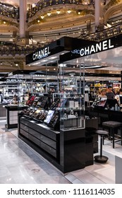 Paris, France - June 30, 2017: Chanel shop in the Galeries Lafayette, most famous upmarket French department store since 1912.