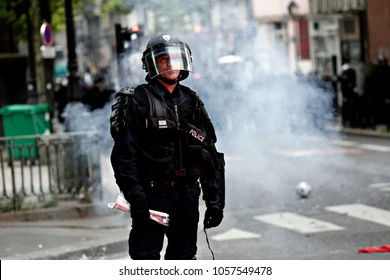 Paris, France June 4,2016. riot police during march in the 3rd anniversary of the death of young far-left activist Clement Meric who died in a fight with skinheads in Paris.
