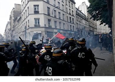 Paris, France June 4,2016. Riot police clashed with antifascists during march in the 3rd anniversary of the death of young far-left activist Clement Meric who died in a fight with skinheads in Paris.