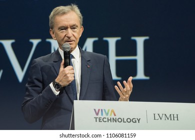 PARIS, FRANCE - JUNE 5, 2018 : The CEO of LVMH Bernard Arnaud at the salon VivaTech during the LVMH innovation awards.