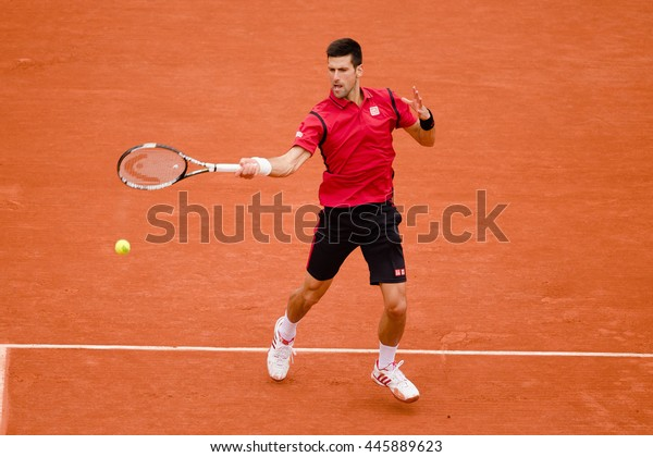 PARIS, FRANCE - JUNE, 5: Novak Djokovic of Serbia during his men's singles final match against Andy Murray of Great Britain on day fifteen of the 2016 French Open at Roland Garros.