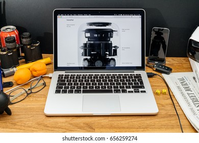 PARIS, FRANCE - JUNE 6, 2017: Apple Computers website on MacBook Retina in creative environment showcasing latest news from Apple at WWDC 2017 - interior of HomePod engineering