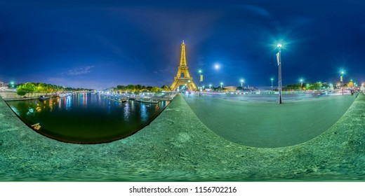 Paris France. June 7, 2017: Night falls on the Eifel Tower, seen from the bridge. Full spherical 360 degrees seamless panorama in equirectangular equidistant projection, photo for VR AR content