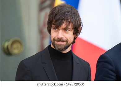 PARIS, FRANCE June 7th 2019 : CEO of Twitter Jack Dorsey at Elysee Palace for an interview with the french President.