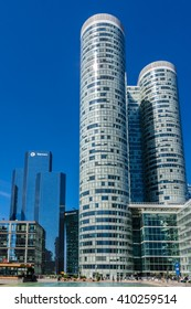 PARIS, FRANCE - JUNE 8, 2015: Skyscrapers in business district of Defense to the west of Paris. Defense is biggest business district in France and most of large companies have offices here.
